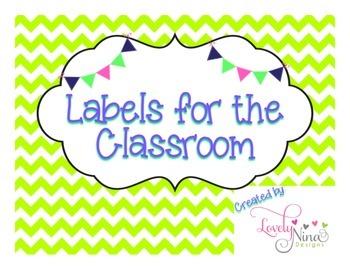Classroom chevron lime green labels FREEBIE