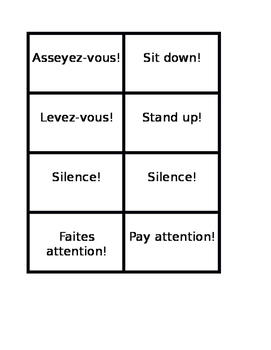Classroom commands in French Concentration games