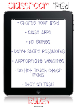 Classroom iPad Rules to keep things running smoothly!