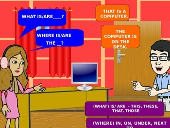 Classroom items, prepositions, this, these, PPT Game, Anim