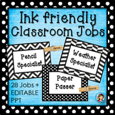 Editable Classroom Jobs (Black and White)