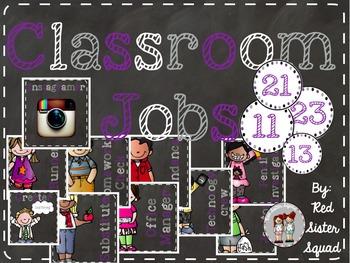 Classroom jobs purple and black!