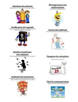 Classroom jobs/Emploi de classe