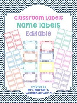 Classroom labels - Name tags - Chevron (Editable)