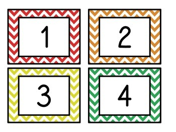 Classroom numbers in Rainbow Chevron