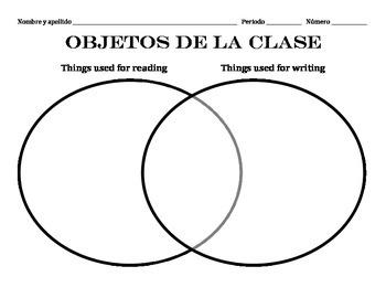 Classroom objects Venn diagram
