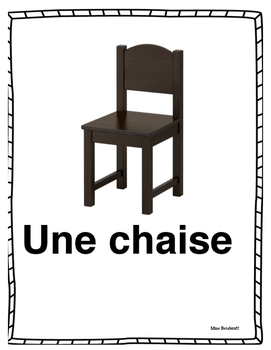 Classroom objects vocabulary cards/flashcards in FRENCH