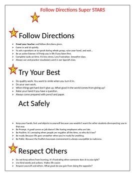 Classroom rules chart
