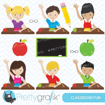 Classroom students clipart for scrapbooking, commercial us