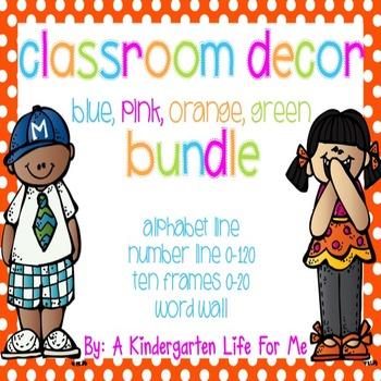 Classroom Decor Bundle-BluePinkOrangeGreenStyle