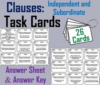 Independent and Dependent Clauses Task Cards/ Grammar Task Cards