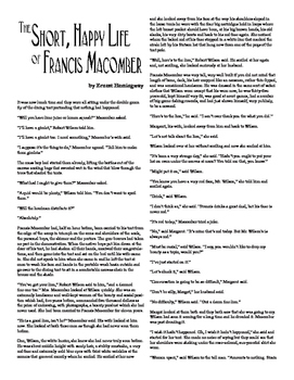 Clean Copy - The Short, Happy Life of Francis Macomber
