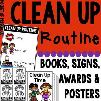 Clean Up Routine Posters, Class Book, Coloring Book, Signs