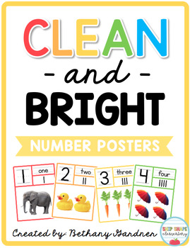 Clean and Bright Number Posters