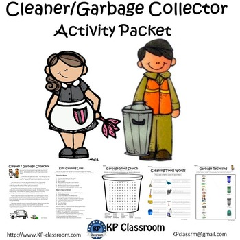 Cleaner and Garbage Collector No Prep Activity Packet and