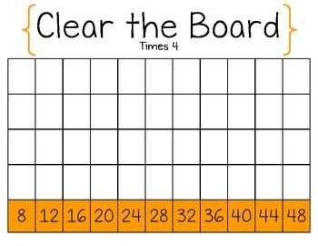 Clear the Board Times 4-Math Game