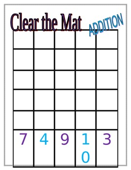 Clear the Mat Addition, Subtraction, and Multiplication Game