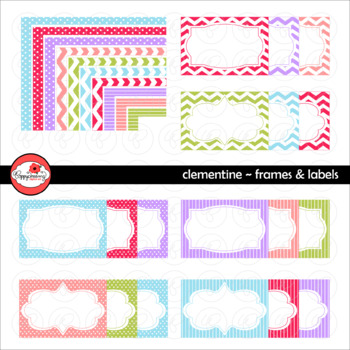 Clementine Frames and Labels Digital Borders Clipart by Po