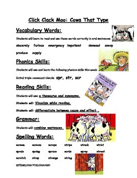 Click Clack Moo Cows that Can Type - Weekly Skill Sheet -