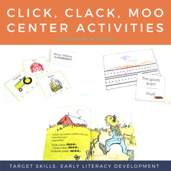 Language & Early Literacy Task Cards - Click Clack Moo