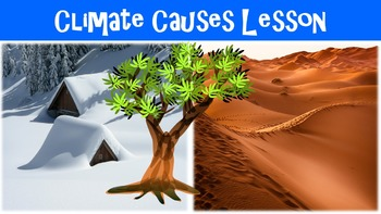 Climate Causes Lesson with Power Point, Worksheet, and Voc
