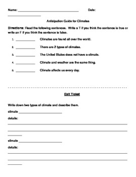 Climate anticipation guide and exit ticket