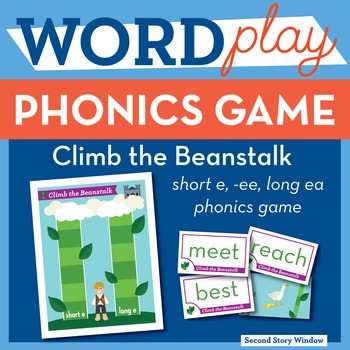 Climb the Beanstalk short e, ee, long ea Phonics Game