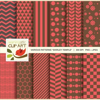Clip Art: 12 Various Digital Patterns in Shirley Temple -