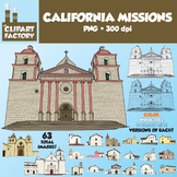 Clip Art: 21 California Missions