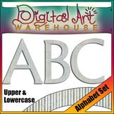 Clip Art: Alphabet Letters Striped Pattern