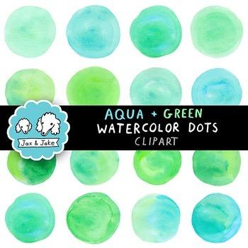 Clip Art: Aqua + Green Watercolor Dots / Circles Personal