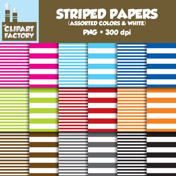 Clip Art: Assorted Colors & White Striped backgrounds - 18