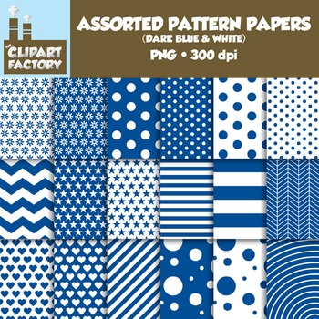 Clip Art: Assorted Patterns-Dark Blue & White - 18 Digital Papers