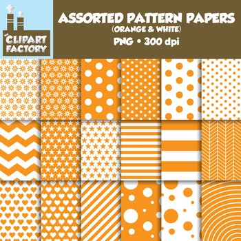 Clip Art: Assorted Patterns-Orange & White - 18 Digital Papers