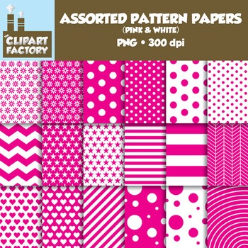 Clip Art: Assorted Patterns-Pink & White - 18 Digital Papers