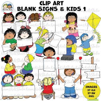 Clip Art BLANK SIGN KIDS 1