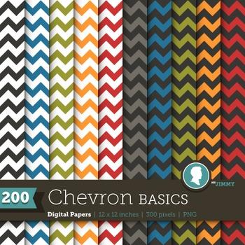 Clip Art: Backgrounds Chevron Basics 200 Digital Paper Patterns