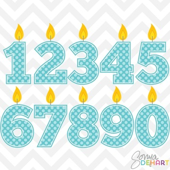 Clipart - Birthday Candle Numbers Blue Clipart