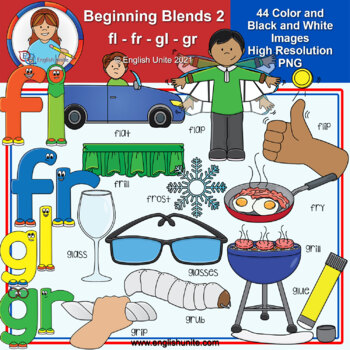 Clip Art - Beginning Blends 2 (fl/fr/gl/gr)