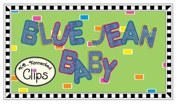 "Clip Art - ""Blue Jean Baby"" Uppercase Alphabet"