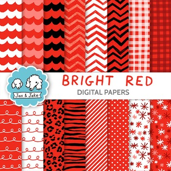 Clip Art: Bright Red Digital Papers for Personal and Comme