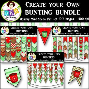 Clip Art Bundle ● Create Your Own Bunting Sets 1-3 ● Produ