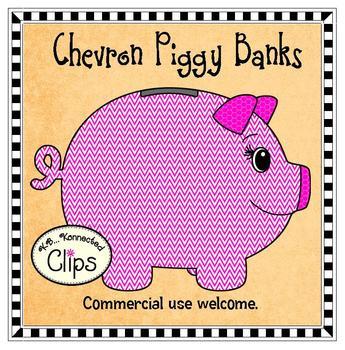 Clip Art - Chevron Piggy Banks