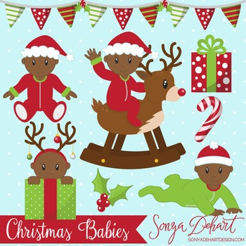 Clip Art: Christmas Baby Boys African American