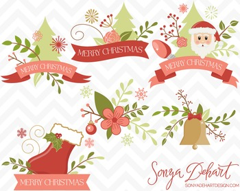 Clip Art - Christmas Flowers and Banners