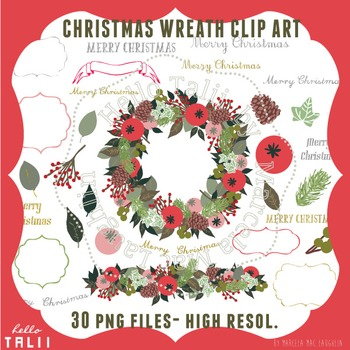 Clip Art: Christmas Wreath and Banner