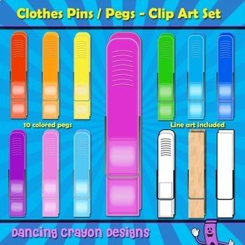 Clothes Pins  Clip Art / Pegs