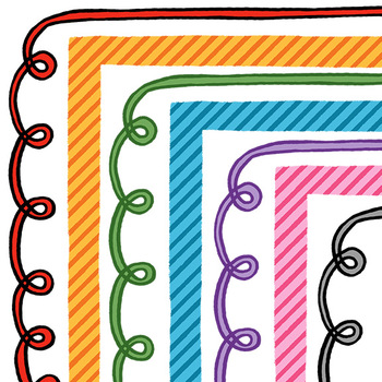 Clip Art: Curls and Stripes Border Set For Personal and Co