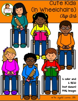 Clip Art: Cute Kids (in Wheelchairs)