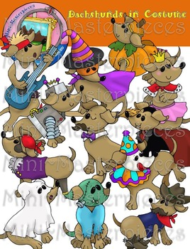 Clip Art: Dachshund Dogs in Costume for Halloween